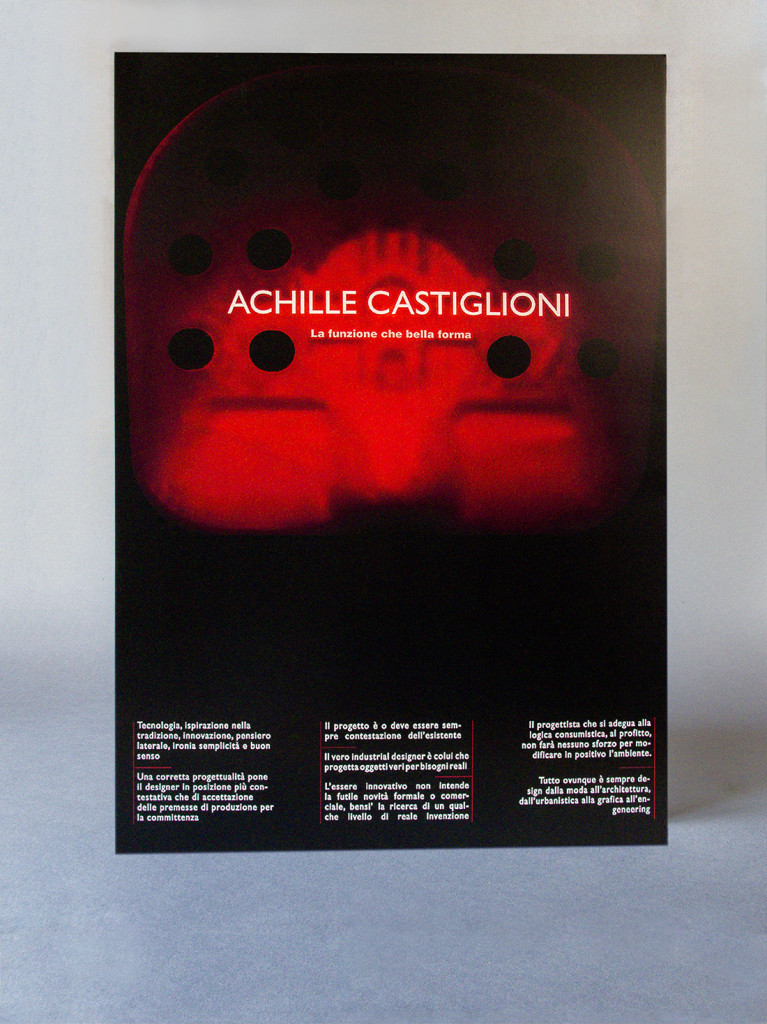 Poster, Design, Achille Castiglioni, Black background, Conference, Exposition, Red, works